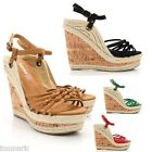271 WOMENS COMFORT WEDGE STYLE PLATFORM HEEL SHOES SIZE UK 3 4 5 6 7