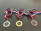 Football Medals (With Metal Centre) includes Red/White and Blue Ribbon