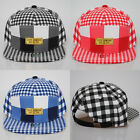 BNWT All-Over Check Black Blue Red Tartan Flat Peak Strapback Baseball Hat Cap