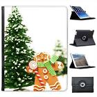 Gingerbread Man Holding Candy Cane By Tree Folio Leather Case For iPad 2, 3 & 4