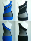 SEXY Top One Shoulder Asymmetric Cut Out Mesh Blue Black  Party 8 10 ENGAGE