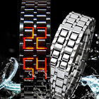 New Lava Iron Samurai Metal Red/Blue LED Faceless Bracelet Wrist Watch Gift
