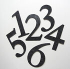 "4"" Black Glitter Chipboard Wedding, Banquet Table Numbers, stickers 1-10 to 1-50"