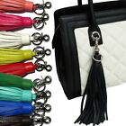 ACCESSORIES POCKY PLAYFUL TASSEL SILVER CHARM KEY FOB GENUINE COWHIDE LEATHER