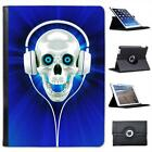 Raving Skull With Headphones In Blue Folio Leather Case For iPad Air & Air 2