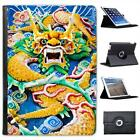 Ornate Chinese Dragon In Yellow & Green Folio Leather Case For iPad Air & Air 2