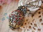 1pc Fashion Women Antique Bronze Red Crystal Peacock Lockets Chain Necklace