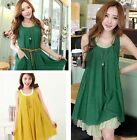 New Lady's Casual Loose Asymmetrical Hem Sleeveless Linen Dresses With Belt Hot
