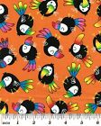 Toucan Bird Fabric 2 Colors Available - Orange OR Lime Rainforest Animals Zoo