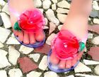 Boho Womens Ladies Flat Heels Flip Flops Summer Beach Slippers Shoes Size Flower