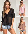 Sexy SHEER Deep V Neck Chiffon Junior PLUS SIZE Top XL/1X/2X/3X FREE SHIP