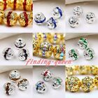 10x Silver Gold Plated Crystal Rhinestone Hollow Spacers Ball Beads 6/8/10mm DIY