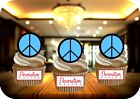 BLUE CND 12 STAND UP Edible Image Cake Toppers hippy peace festival cnd