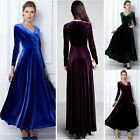 Stylish Winter Autumn Dress Women Velvet Long-sleeve V-neck Long Maxi Dress 8-16