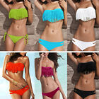 Hot Sexy Women 2PCS PAD Swimwear Push-up Bikini Swimsuit Halter Strap Tassel