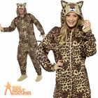 Adult Leopard Onesie Animal Costume Zoo Unisex Cat Fancy Dress Outfit New
