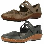 Ladies Rieker Antistress Leather Shoes With Velcro Bar And Floral Pattern 44875