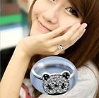 FD354 Cute Silver Plated Princess Queen Ring Panda Rhinestone Diamond Rings ~1pc