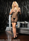 Erotic Open Bust Multi-Fencenet Micro Mini Dress W/ Lace Trim -Sex y Diamond Net