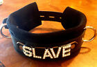 Lg Leather locking buckle collar custom made SLAVE or any word. Suede  25""