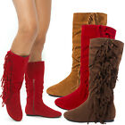 Womens Round Toe Faux Suede Moccasin Fringe Knee High Mid Calf Flat Boot US 5-11