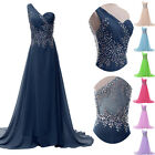 One Shoulder Evening Dress Bridesmaid Gown Prom Formal Party Dresses Size 6-20