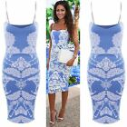 Women Celeb Michelle Keegan Embosed Floral Strappy Bodycon Dress Size 8 10 12 14