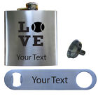 Personalized Love Tennis 6 Oz Stainless Steel Flask, Bottle Opener, and Funnel