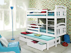 White Triple Sleeper Bunk Beds Solid Pine Wooden New Furniture Matrresses