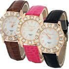 New Fashion Women's  Rhinestone Faux Leather Band Wristwatch Gift For Lover
