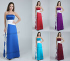 Satin Formal Long Evening Gown Party Prom Bridesmaid Dress Size 6 8 10 12 14 16