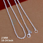 Woman Lady Girl Jewelry 925 Sterling Silver Lovely Wrest Rope Chain 2mm Necklace