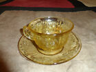 AMBER SHARON CABBAGE ROSE CUP AND SAUCER SET (S) FEDERAL DEPRESSION GLASS 1930S