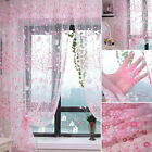5 Colors Floral Tulle Voile Door Window Curtain Drape Panel Sheer Scarf Valances