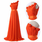 HOT Flower Long Chiffon Gown Evening Prom Party Bridesmaid Pageant Dress 6 8 10+