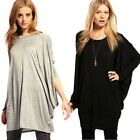 Spring Autumn Oversize Batwing Dolman Sleeve Round Neck Loose T-Shirt Top Blouse
