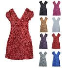 Ladies GLITTER BLING SEQUINS V-NECK DISCO BODYCON DRESS CAP SLEEVE EMBELLISHED