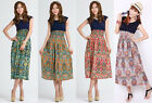 Summer Gypsy Boho Floral Print Elastic Waist Sleeveless Maxi Long Sundress Dress