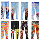 Girls Frozen Prince Anna Elsa Skinny Leggings Kids Tights Pants Trousers 5-12Y