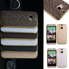 2014 Luxury Bling PU Leather Back Cover Chromed Hard Case FRBT For HTC One 2 M8