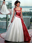 New White/Red Lace Short Sleeves A Line Satin Bridal Wedding Party Dresses Gown