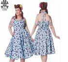 NEW XL BLUE FLORAL VINTAGE TEA DRESS ROCKABILLY RETRO 1950 SUMMER WEDDING UK 16