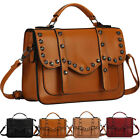 Ladies Womens Designer Leather Style Vintage Studded Stud Satchel Tote Hand Bag