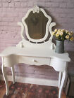 Shabby Chic Dressing Table wit/without Mirror Antique White Crackle Effect Paint