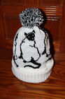 Siamese Cat Pattern Hand Made Knitted Bobble Hat, Beanie Hat, Brand New