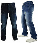 Crosshatch Mens New Designer Straight Leg Regular Fit Cargo Denim Jeans Size All