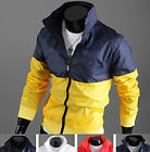 Stylish Men's Leisure Printing Splice Color Windbreak Jacket Coat Sports Wear