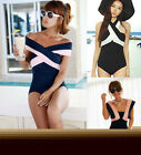 Newly Lady Navy Wind One Piece Swimsuit Monokini Bikini Swimwear Bathing Suit