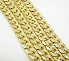 "22-36"" 7.5mm 10k Yellow Real Gold Hollow Miami Curb Cuban Chain Necklace Mens"