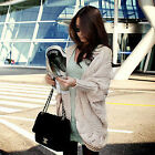 Hot sale Women Knitted Cardigan Asymmetric Hem Loose Sweater Coat UK FO